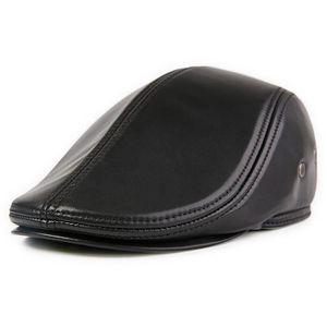 BONNET - CAGOULE Beret en Cuir Homme Casquette Plate NOIR