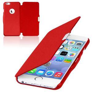 COQUE - BUMPER Coque iPhone 6/6S Plus Rabat Magnétique Rouge