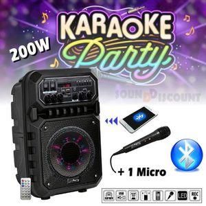 ENCEINTE ET RETOUR Enceinte karaoké Portable Autonome 200w + Micro +