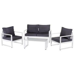 SALON DE JARDIN  Salon complet d'extérieur Aluminium Blanc/Gris - P