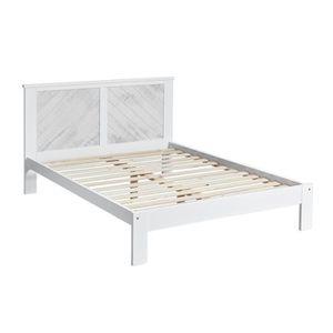 STRUCTURE DE LIT Cadre + Tête de lit 140*190 cm Blanc lavé - JUDAY