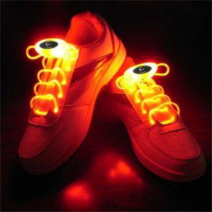 1 x paire LED clignotant lacets lueur dans la couleur foncée ORANGE