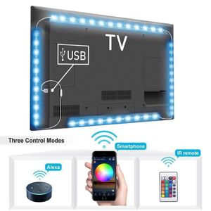 BANDE - RUBAN LED 4pcs RGB TV Bande LED USB Smart WiFi Lumière Alexa