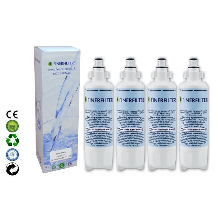 4 x Panasonic CNRAH-257760 Filtre à eau pour réfrigérateur de Finerfilters