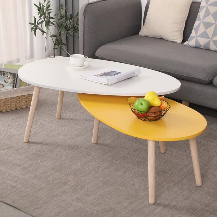 POPS Lot de 2 tables basses gigognes design scandinave bicolore jaune blanc pieds effilés bois massif hévéa