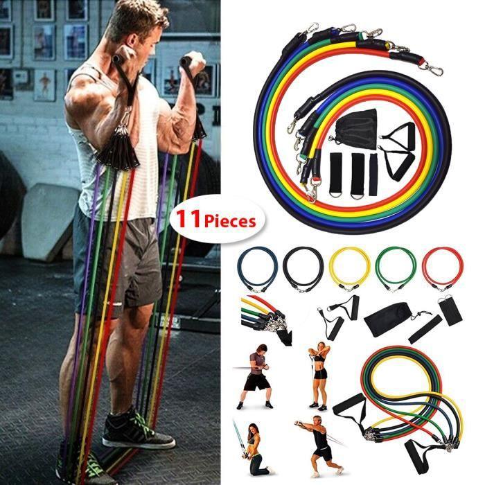 11pcs Bandes de Résistance Elastiques Musculation Set -Sangles De Suspension Musculation Ancre de Porte/Poignées/Sangle de