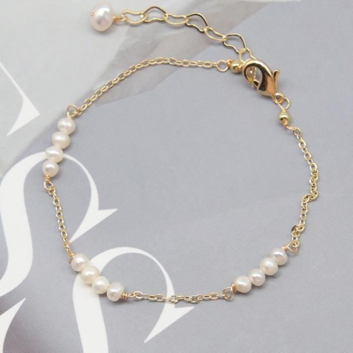 Perles Jade Or Bracelet Perles D'eau Douce_Multi