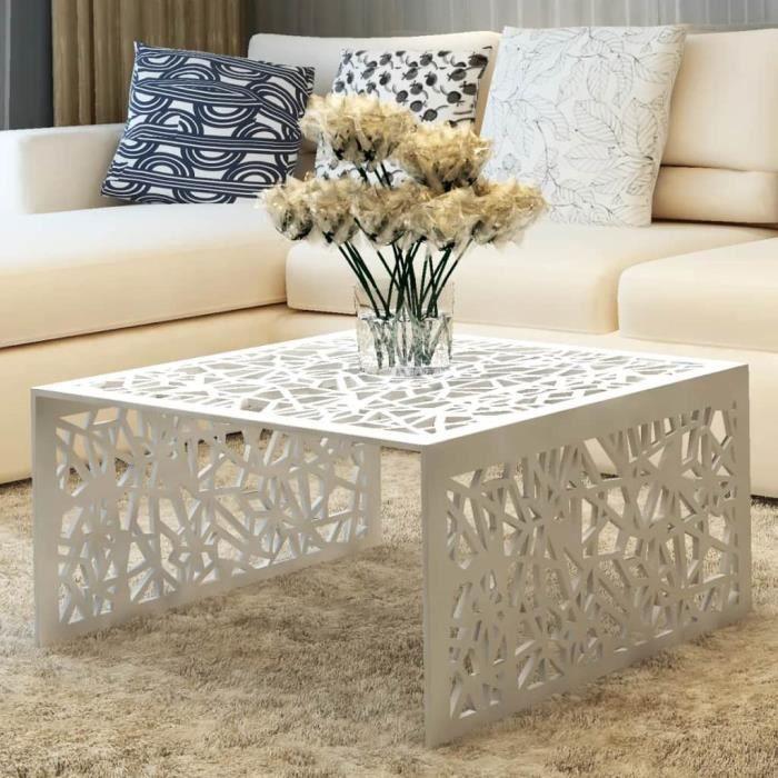 Table basse argentée Design géométrique Aluminium -HUA