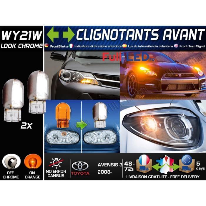 Pack 2 Ampoules WY21W Chromé - Clignotants Avant - Toyota Avensis III