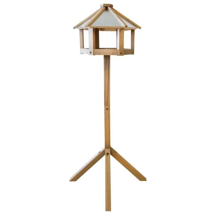 Mangeoire à oiseaux hexagonale Chêne - Mangeoire sur pied - Trémie