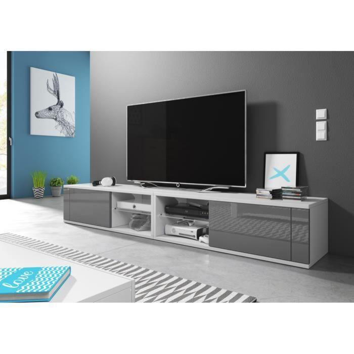 Meuble TV moderne Azalia Double BLANC/GRIS BRILLANT 200cm