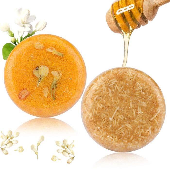 2PCS Barre de Shampooing, Phogary Savon pour cheveux (Jasmin + miel) Divers parfums Shampooing pour essences végétales naturel po