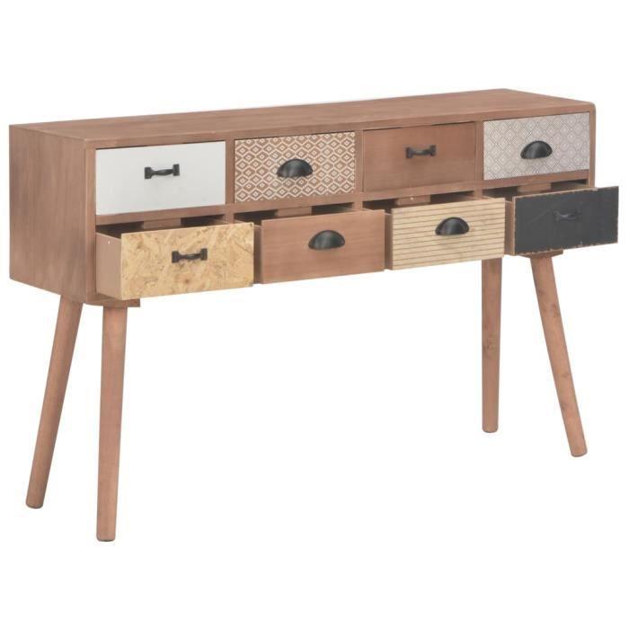 Haute qualité Console avec 8 tiroirs - Table console Armoire console Table d'appoint 120 x 30 x 76 cm Bois de pin massif *921028