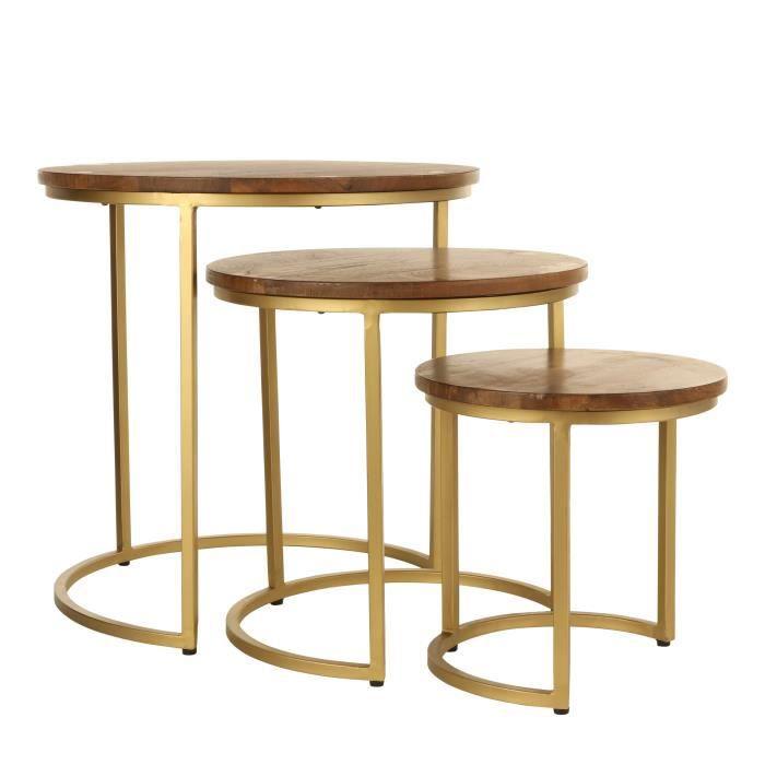 Casa Vivante Jolie Table d'appoint - Lot de 3 - H52,5 x Ø52 cm - Bois de manguier/Métal - Brun foncé/Or