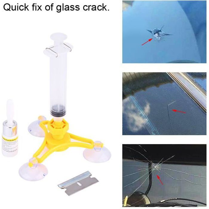 Dioche kit de réparation de vitre Kit de réparation de pare-brise automatique de voiture scellant de résine de fissure de verre