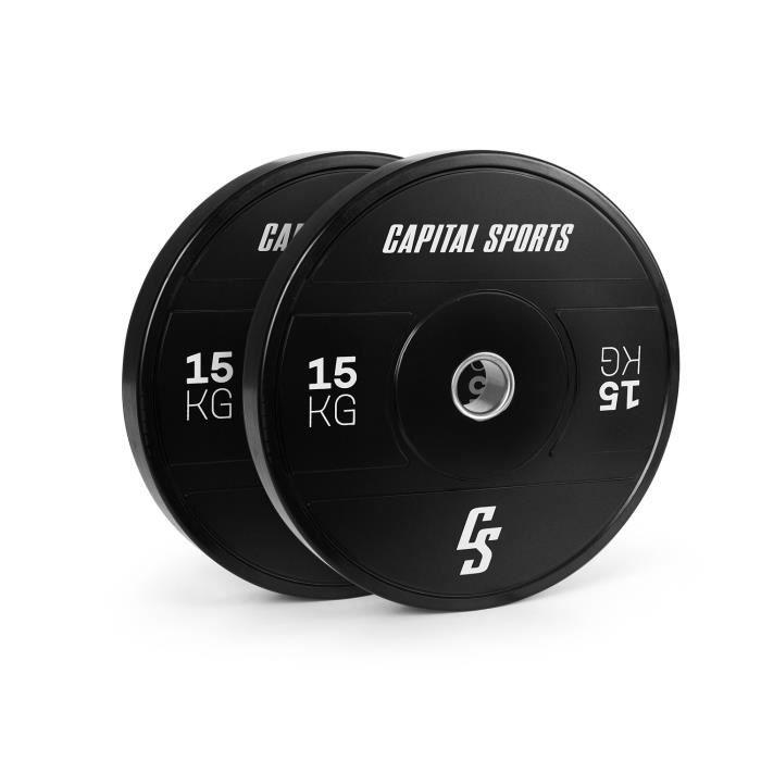 Disques de poids pour haltères - Capital Sports Elongate 2020 - bumper plates - 2 x 15 kg - gomme dure - 50,4 mm - Noir