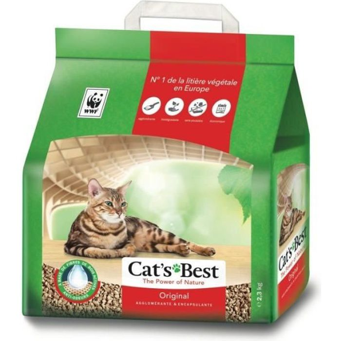 Cat's Best Original Litière Pour Chats Végétale 2,3Kg (lot de 3)