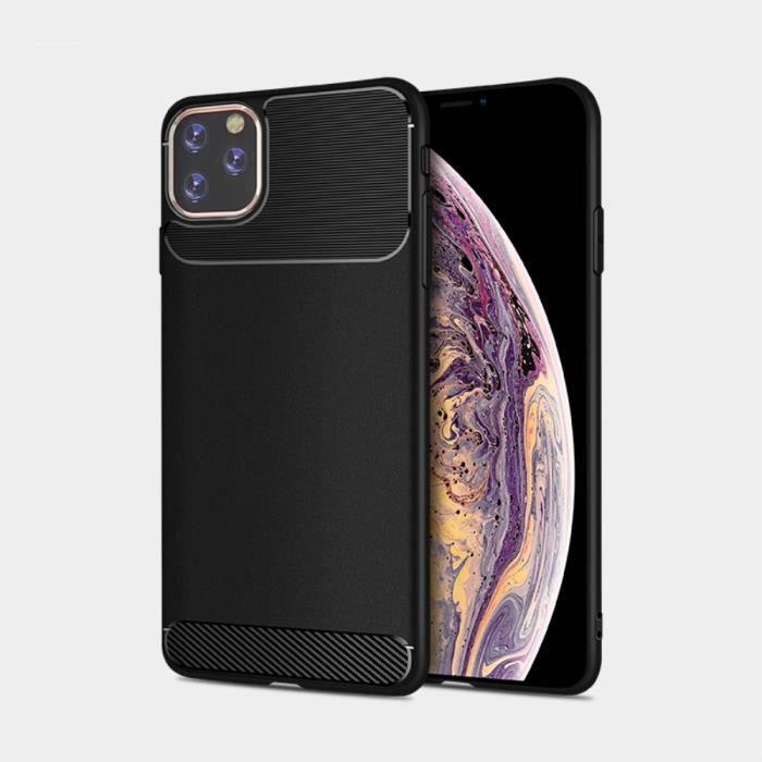 Coque Pour iPhone 11 Pro Noir Carbone En Silicone Gel Souple hfs-house®