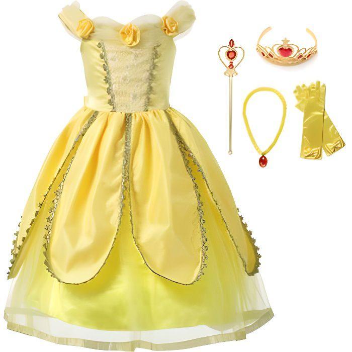 Robe de déguisement de luxe Belle pour enfants La Belle et la Bête avec 4 Accessories