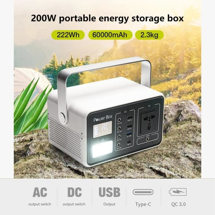 GB-T200 Portable Station stockage énergie Solaire Rechargebale Lithum Batterie pour voyage - 222WH - 60000mah, 3.7V