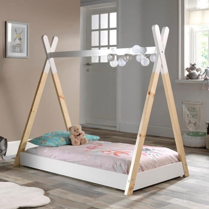 Lit Enfant Design -tipi- 70x140cm Blanc - Paris Prix