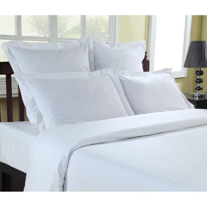 Drap plat Percale 80 fils/cm² Sensei - Sensei La Maison du Coton - Blanc - Taille : 180x290