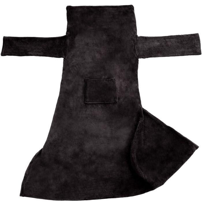TECTAKE Plaid Canapé avec Manches Doux en Polyester 180 cm x 150 cm Noir
