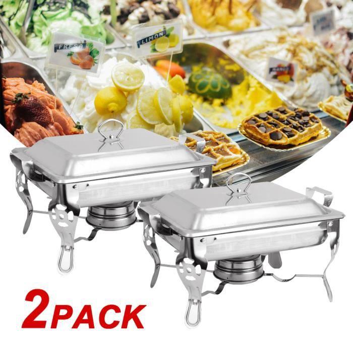 TEMPSA 2Pcs 6L Chafing-dish inox - Poêle Buffet Récipient en acier Inoxydable - Chauffe-plats avec couvercle Isolation