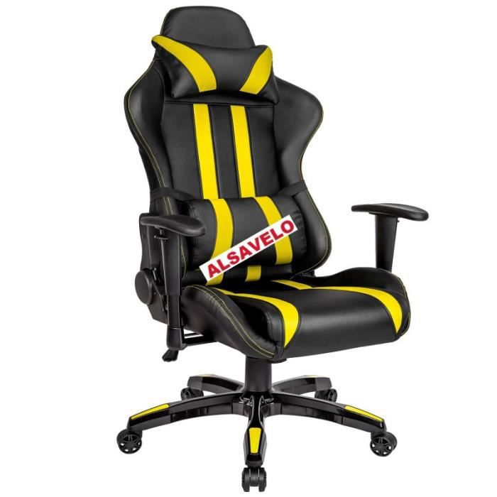 si ge de bureau gaming racing premium noir jaune achat. Black Bedroom Furniture Sets. Home Design Ideas
