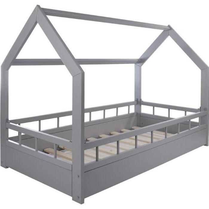 STRUCTURE DE LIT Solenzo - Lit cabane gris pour enfant avec sommier