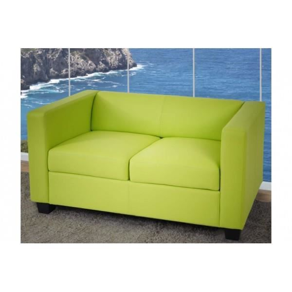 canap 2 places salon lille similicuir vert achat vente canap sofa divan synth tique. Black Bedroom Furniture Sets. Home Design Ideas