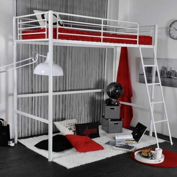 lit mezzanine rock 90x190cm metal blanc achat vente lit mezzanine lit mezzanine rock. Black Bedroom Furniture Sets. Home Design Ideas