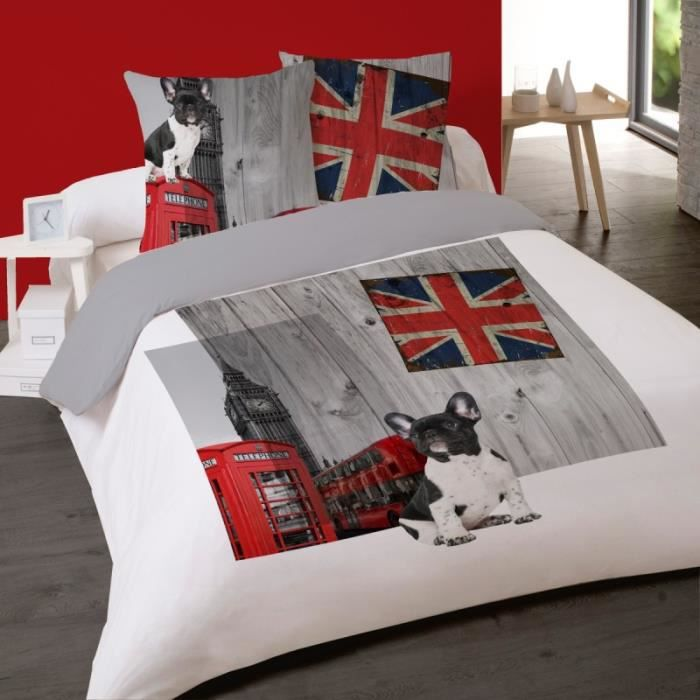 housse de couette london coton 240x220 achat vente housse de couette london coton 240x220. Black Bedroom Furniture Sets. Home Design Ideas