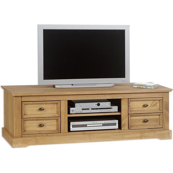 Meuble banc tv kent pin massif finition cir e achat for Meuble tv pin