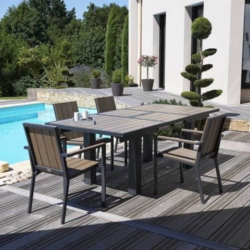 table de jardin alu bois composite 6 8 personnes bois clair achat vente table de jardin. Black Bedroom Furniture Sets. Home Design Ideas