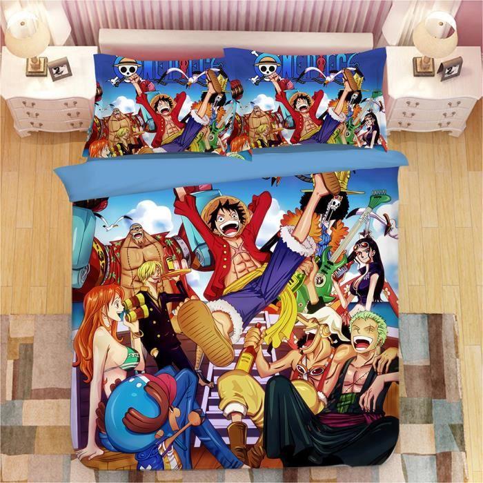 HOUSSE DE COUETTE ET TAIES One Piece Monkey D. Luffy Style Parure de Couette