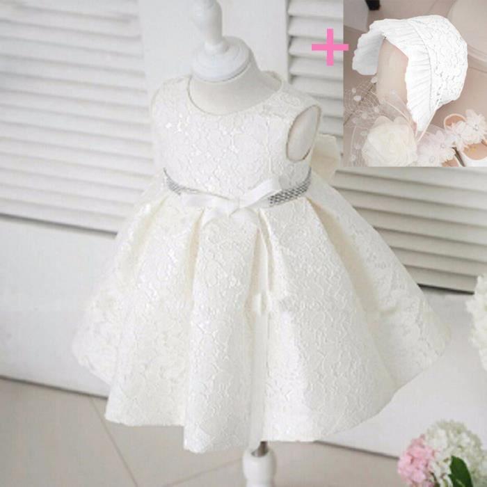 Robe Ceremonie Bapteme Bebe Fille A Line En Den Blanc Achat Vente Robe De Ceremonie Cdiscount