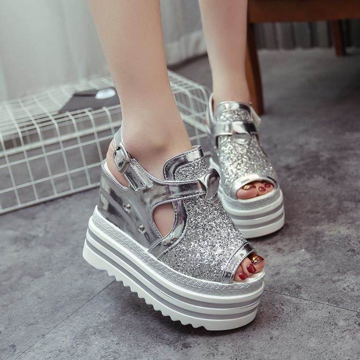 Bling Glitter Gladiator Sandals Silver Plate-forme Femme Casual Wedges Chaussures BkktA