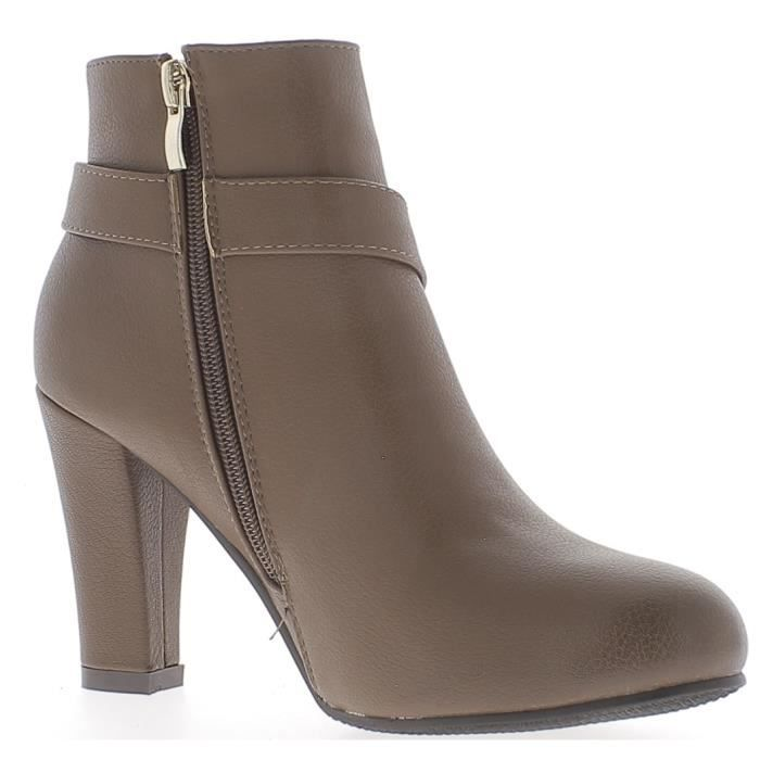 32282fb761bbed Talon Lisse De Couleur 3 Bottines À marron Cuir Brillant Aspect 9cm Femme  Taupe Pointure pI8wxt6 ...