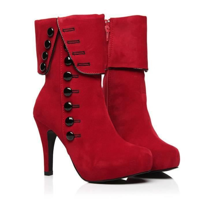 KORCLOTHES® Mode Bottes Plate hiver femme forme Bottes ROUGE Chaussures Femme Flocon flambeau Talons hauts Chaussures 4AR3j5L