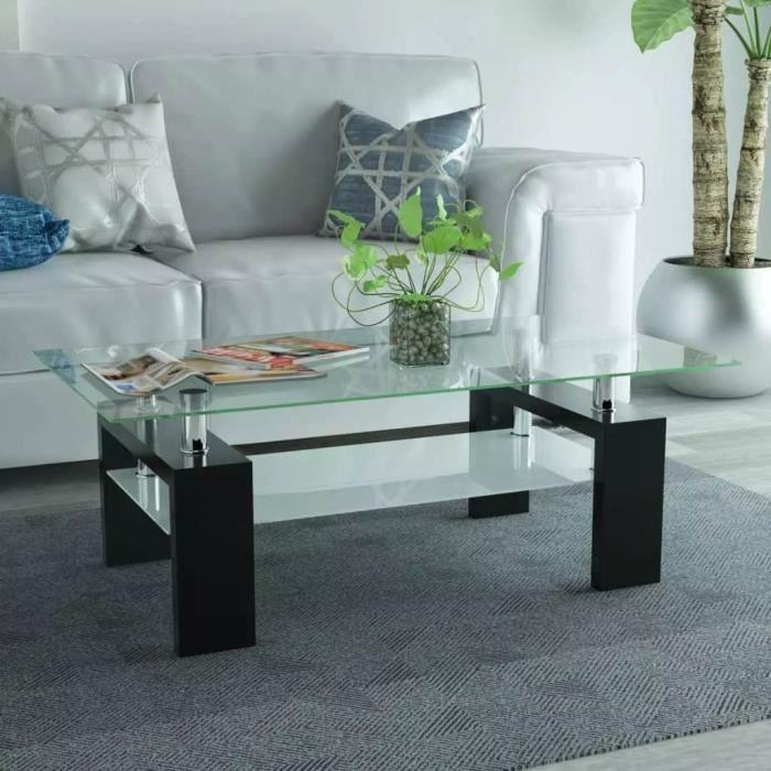 TABLE BASSE Table basse avec étagère inférieure 110x60x40cm No