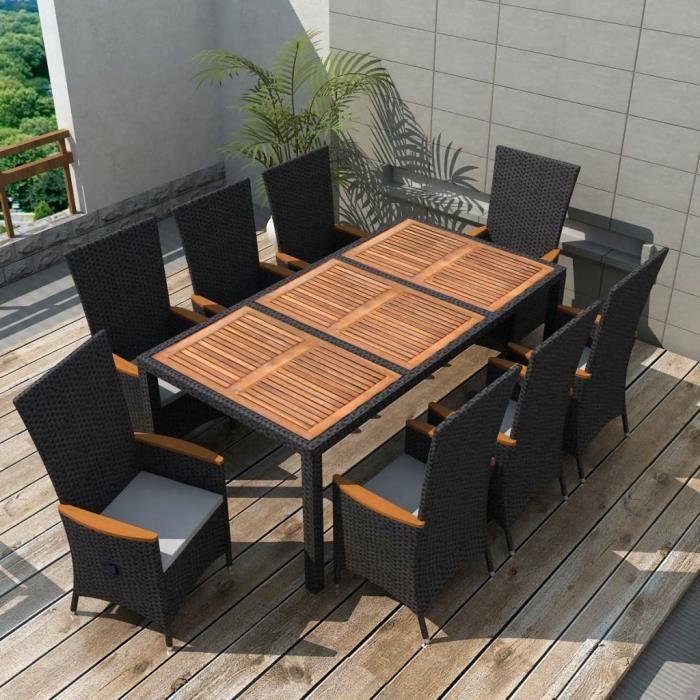 Mobilier de jardin 17 pcs Noir Bois d\'acacia Résine tressée XXL Salon de  jardin Ensembles de meubles d\'exterieur