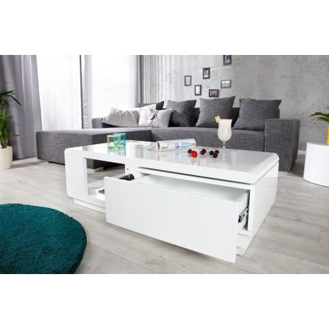 Table basse design taylor blanc blanc laque achat - Table basse design blanc ...