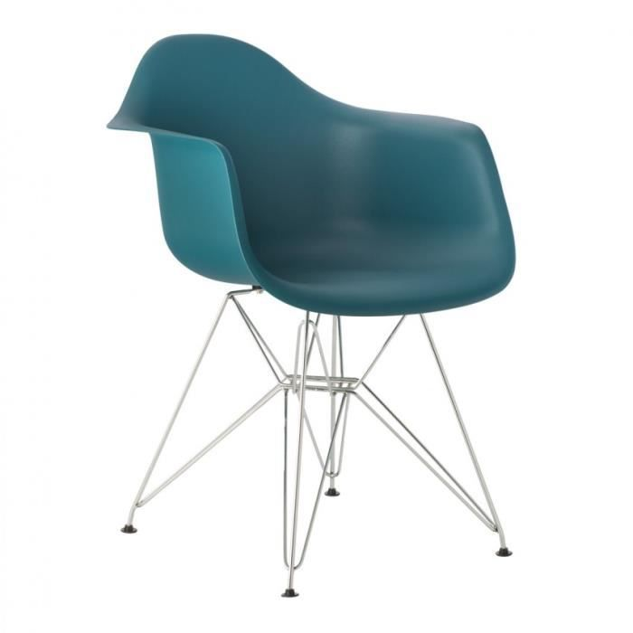 chaise avec accoudoirs ims m tal bleu turquoise intense chrom achat vente chaise cdiscount. Black Bedroom Furniture Sets. Home Design Ideas