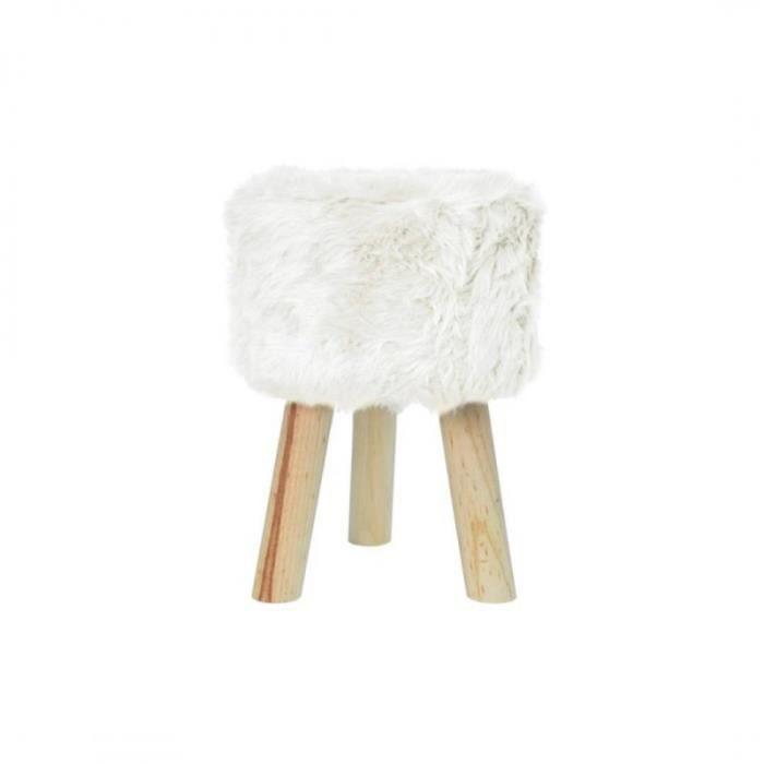 Wedestock Petit Tabouret Effet Fourrure et Pieds Bois Coloris Blanc H 33cm