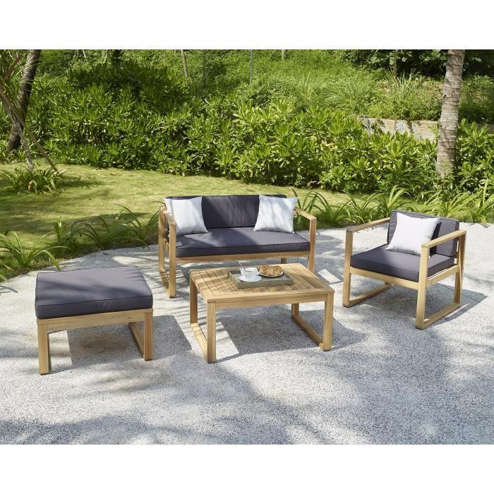 Salon de jardin en bois d\'acacia FSC 4 personnes MOA Graphite