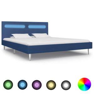 LIT COMPLET FIHERO Cadre de lit avec LED Bleu Tissu 160 x 200
