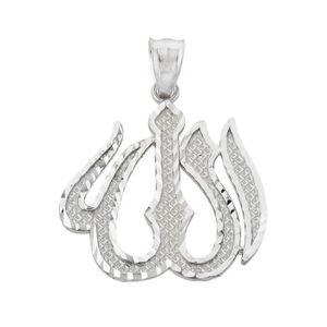 Religieux Islamique Allah Plaqué Argent Clair Strass Collier Pendentif Bijoux