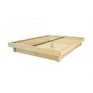 STRUCTURE DE LIT Lit plateforme bois massif pas cher (Vernis Nature