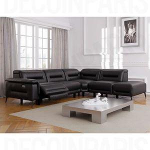CANAPÉ - SOFA - DIVAN Canapé angle droit relax en simili cuir noir CRUZ